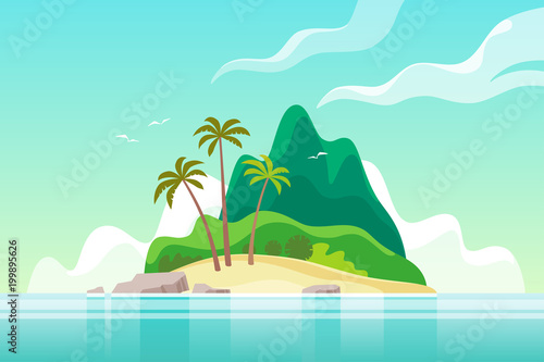 Garden Poster Green coral Tropical island with palm trees. Summer vacation. Vector illustration.