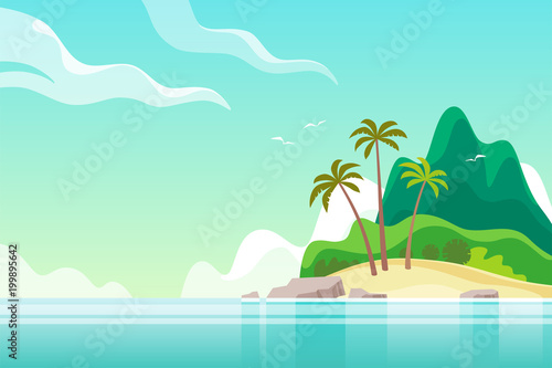 Wall Murals Green coral Tropical island with palm trees. Summer vacation. Vector illustration.