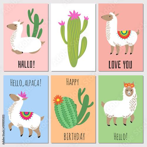 Photo Cute mexican alpaca kids vector invitation cards