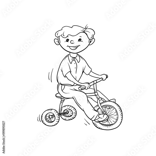 Vector Sketch Boy On Tricycle Little Child Play Sports Active Walk In Summer On Outdoor Cartoon Black White Isolated Line Illustration Buy This Stock Vector And Explore Similar Vectors At Adobe