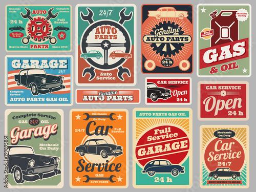 Usługi naprawy zabytkowych pojazdów drogowych, stacja benzynowa, znaki samochodowe garaż wektor