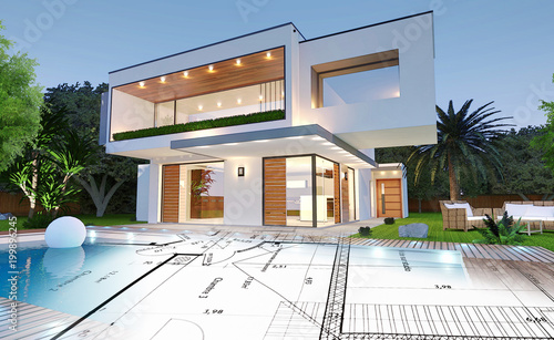 Plan Du0027une Maison Moderne Du0027architecte Avec Piscine