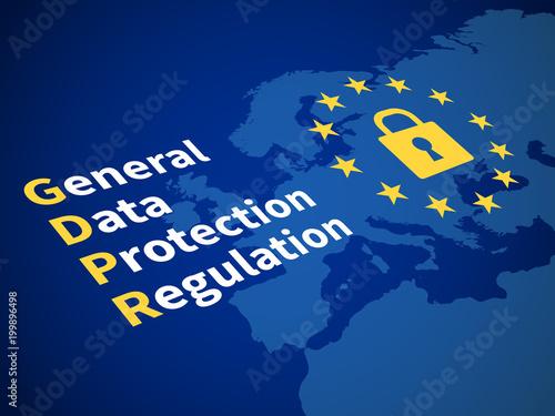 Fototapeta Gdpr general data protection regulation. Eu computer safeguard regulations and data encryption vector concept obraz