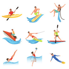 Flat Vector Set Of Cartoon People Characters Involved In Extreme Water Sports. Young Women And Men. Active Summer Recreation