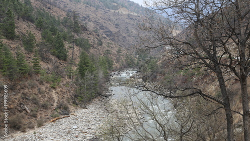 Deurstickers Donkergrijs Bhoutan Paysage