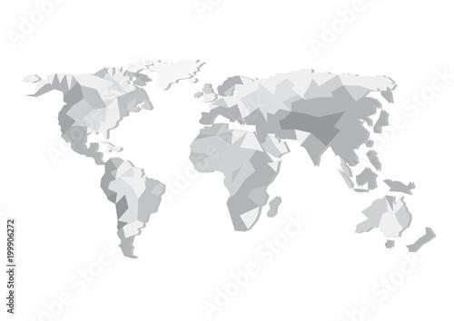 Flat design vector world map silhouette isolated on white background flat design vector world map silhouette isolated on white background europe asia australia gumiabroncs Gallery