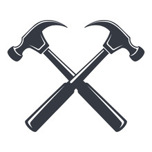 Vintage Hammer Icon, Joiner's Tools, Simple Shape, For Graphic Design Of Logo, Emblem, Symbol, Sign, Badge, Label, Stamp, Isolated On White Background. Hand Drawn, Vector Illustration.