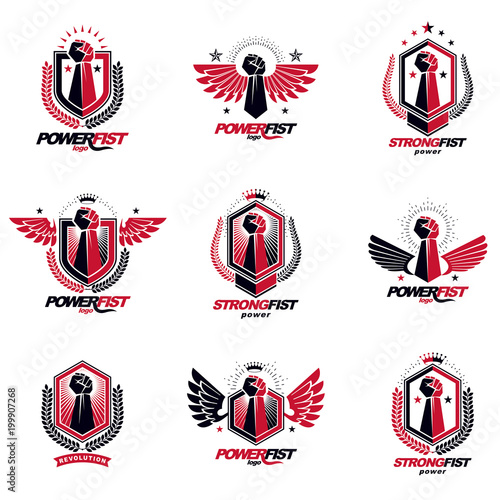 Valokuva  Set of vector symbols created with clenched fist of athletic man, eagle wings, pentagonal stars and different graphic elements