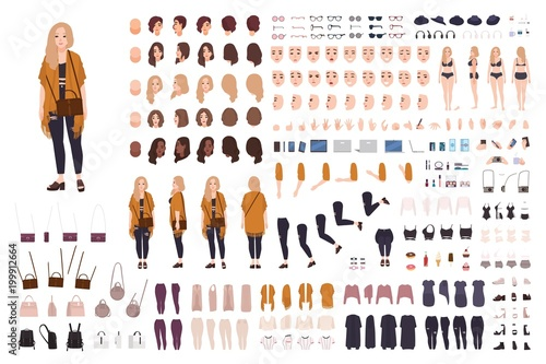 Obraz Young fat curvy woman or plus size girl constructor or DIY kit. Set of body parts, facial expressions, clothing, accessories. Female cartoon character. Front, side, back views. Vector illustration. - fototapety do salonu