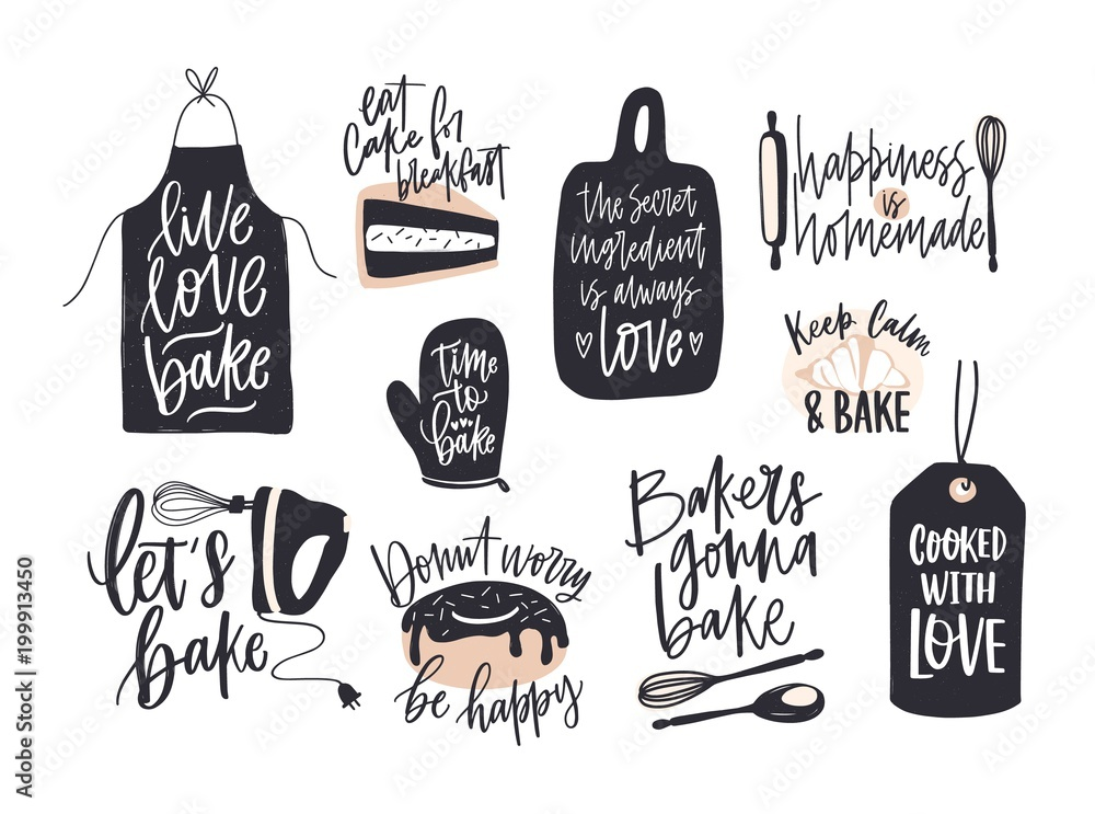 Fototapeta Collection of elegant lettering written with cursive font decorated with cooking or baking design elements. Bundle of bakery compositions with inspiring slogans. Creative vector illustration.