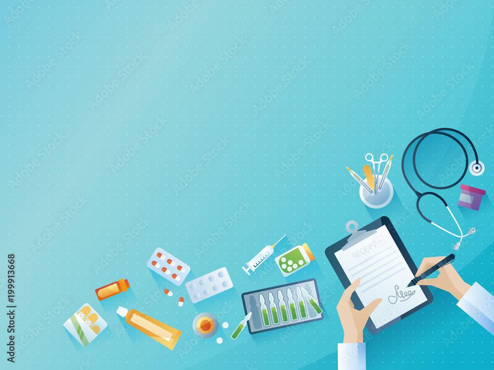 Medical workplace concept background. Color vector illustration