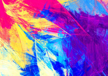 Bright Artistic Splashes. Abstract Beautiful Multicolor Painting Color Texture. Modern Futuristic Color Background.  Fractal Artwork For Creative Graphic Design
