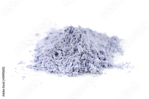 Obraz na plátne Blue powder gypsum dental on white background