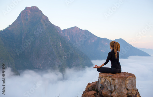 Fotobehang Ontspanning Serenity and yoga practicing,meditation at mountain range