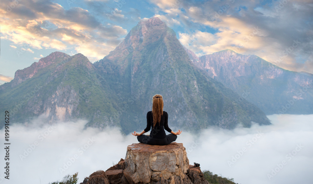 Fototapety, obrazy: Serenity and yoga practicing,meditation at mountain range
