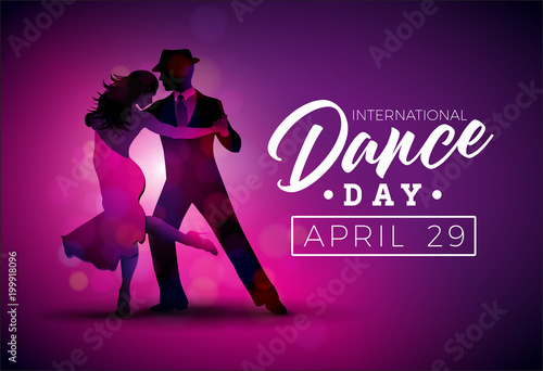 Fotografía  International Dance Day Vector Illustration with tango dancing couple on purple background