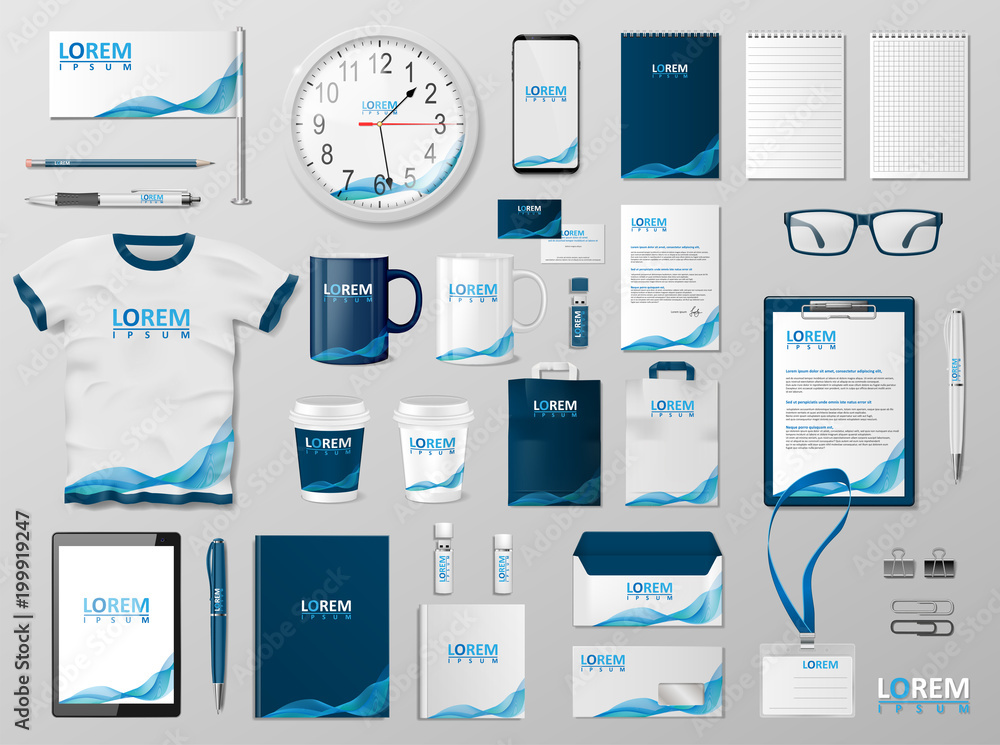 Fototapeta Corporate Branding identity template design. Modern Stationery mockup for shop with modern blue structure. Business style stationery and documentation. Vector illustration