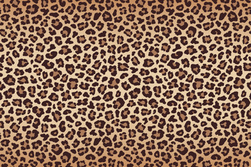 Fototapeta Pantera Leopard fur beige brown texture with dark border. Vector