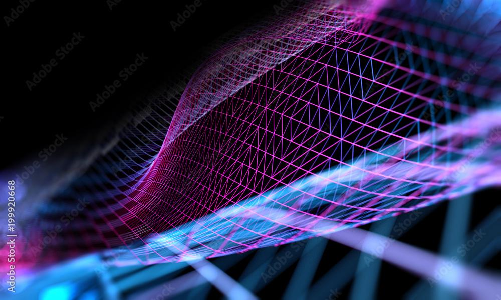Fototapety, obrazy: Fondo abstracto de ciencia y tecnología.Maya o red y patrón de lineas.