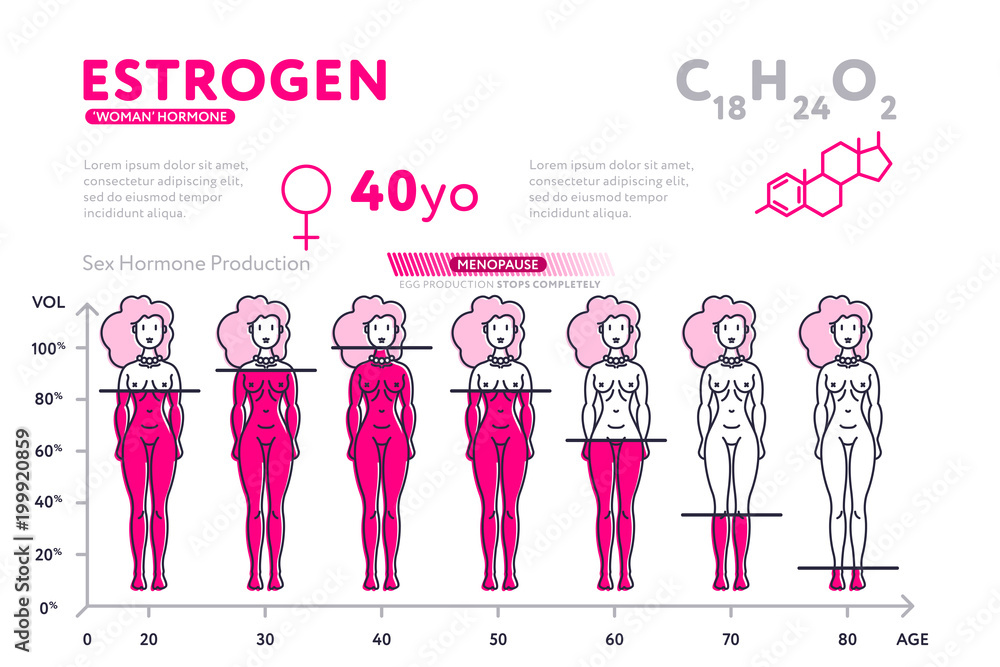 Ping Infographic Diagram Showing Content Of Hormone Estrogen During