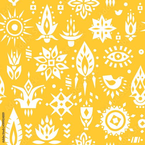 Foto Vector seamless pattern of stylized white african flowers on a yellow background