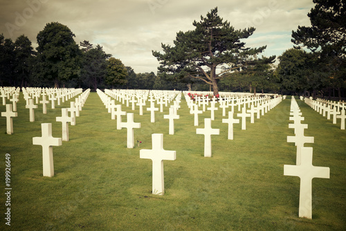In de dag Begraafplaats Cemetery in Normandy