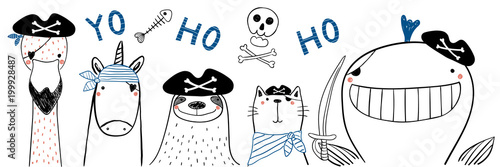 Valokuva  Hand drawn portrait of a cute funny pirate animals in tricorne hats, with eye patches