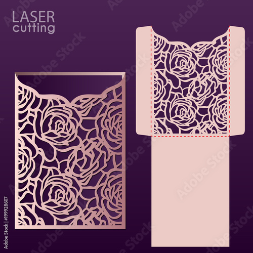 laser cut wedding invitation card template vector with roses pattern