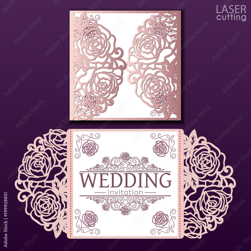 Obraz Vector Die Laser Cut Envelope Template With Rose