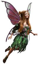 Fairy In Green Dress 3D Illust...