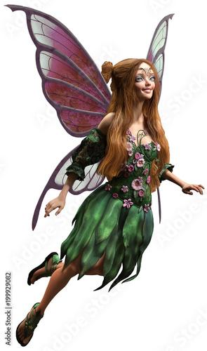 Fairy in green dress 3D illustration Fototapet