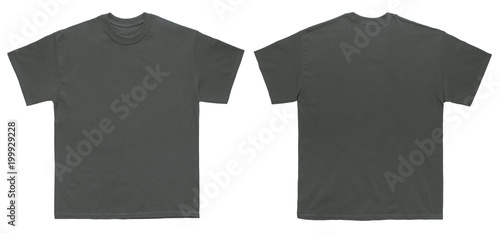 Blank T Shirt color charcoal template front and back view on white ...