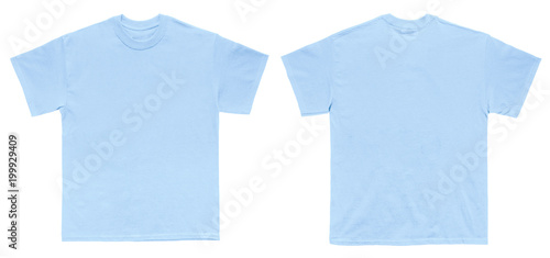 Blank T Shirt Color Light Blue Template Front And Back View