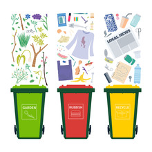 Garbage Bins With Different Waste - Recycle, Organic, General