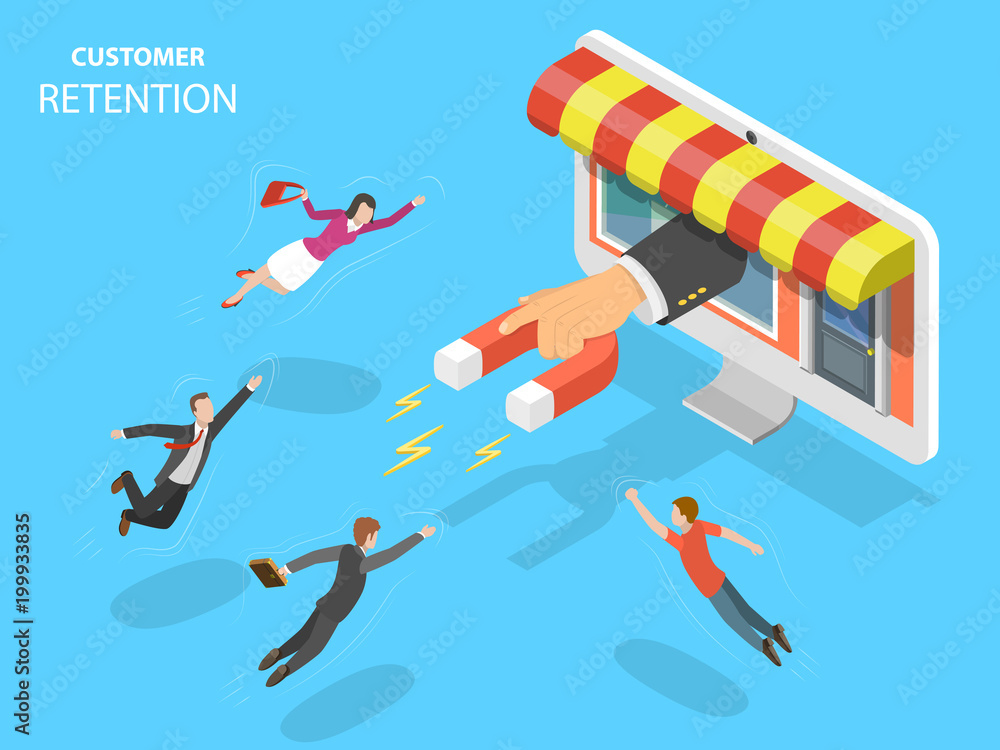 Fototapeta Online store customer retention flat isometric vector concept. Hand with magnet has appeared from the PC monitor attracting people from everywhere.
