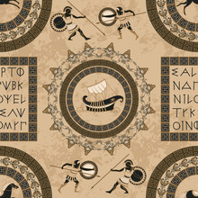 Seamless Pattern With Ancient ...