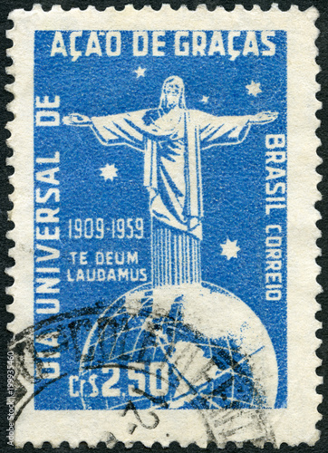 BRAZIL - 1959: shows Corcovado Christ Globe and Southern Cross, Universal Thanks Canvas Print