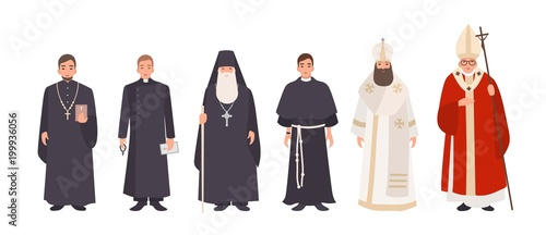 Carta da parati Collection of monks, priests and religious leaders of Catholic and Orthodox christian churches