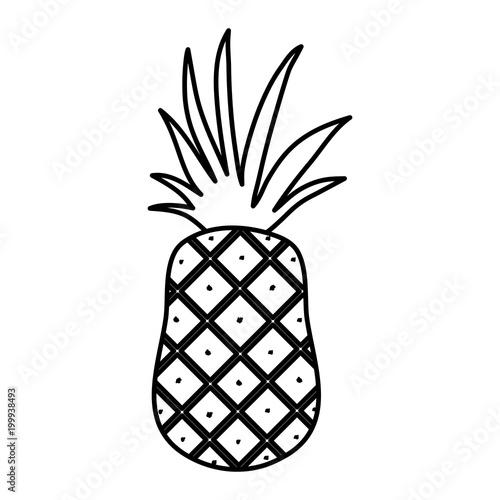 Retro sign line yummy pineapple fruit organic nutrition