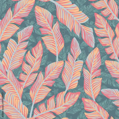 tropikalny-wzor-w-pastelowe-liscie-na-blekitnym-tle