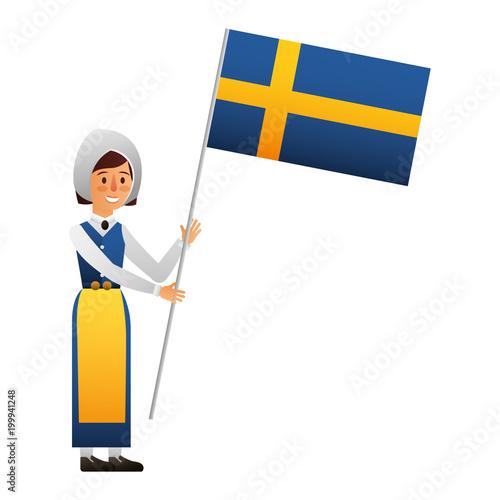 Fotografie, Obraz  Swedish woman with flag character icon vector illustration design