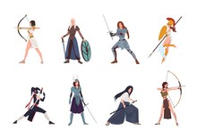 Collection Of Female Warriors From Scandinavian, Greek, Egyptian, Asian Mythology And History. Set Of Women Wearing Armor And Holding Weapons Isolated On White Background. Cartoon Vector Illustration.