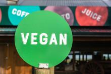 Vegan Word Green Disk Food Decor Sign
