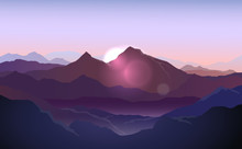 Vector Purple Landscape With S...