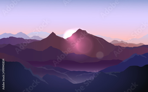 Poster Purple Vector purple landscape with silhouettes of mountains with sunlight