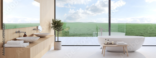 new modern bathroom with a nice view. 3d rendering Fototapeta