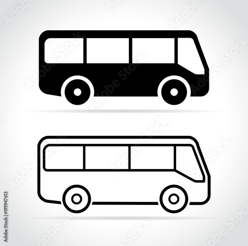 Fotomural bus icons on white background