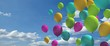 canvas print picture - Colorful balloons with blue sky