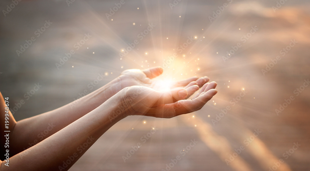 Fototapety, obrazy: Woman hands praying for blessing from god on sunset background