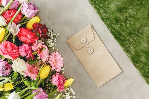 Obraz na plátne Flowers on florist's worktable